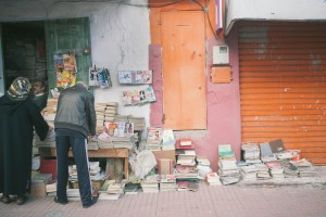 Mohammad's collection is vast, creeping up the walls of his tiny shop and spilling out onto the street. He carries texts in Arabic, French, and with a little bit of digging, Soviet mechanical engineering books from the 1940s can be found hiding in the stacks.