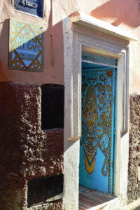 The eye-catching entrance to the Marrakech Henna Art Cafe. Photo by Regan Reeck.