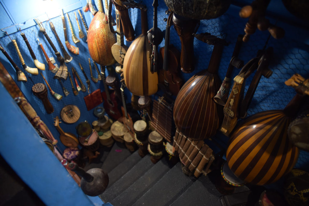 Traditional Berber and Gnawa instruments line the walls of Bob Magic Music. Photo by Shirley Chan
